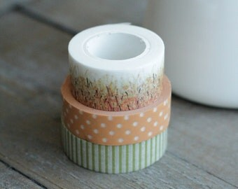 Fall Washi Tape Set - 3 Rolls: Watercolor Thanksgiving Orange Wheat Grass Field (20mm x 10m) - Orange Brown Dot - Sage Green Stripe - Washi