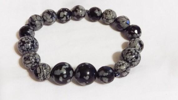 Snowflake Obsidian Bracelet, Beaded Bracelet, Stretch Bracelet, Bohemian, Natural Stone, Boho Chic, For Her, Wife, Girlfriend, Mothers Day
