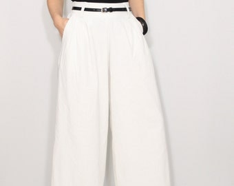 Wide leg linen pants White pants with pockets High waist pants