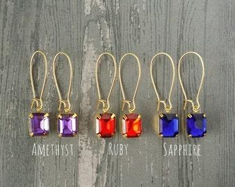 Rectangle Jewel Earrings (Gold)