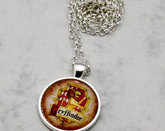 Harry Potter Gryffindor House Crest Necklace Pendant Set handmade fandom fangirl fashion jewelery inspired HP book books movie emblem