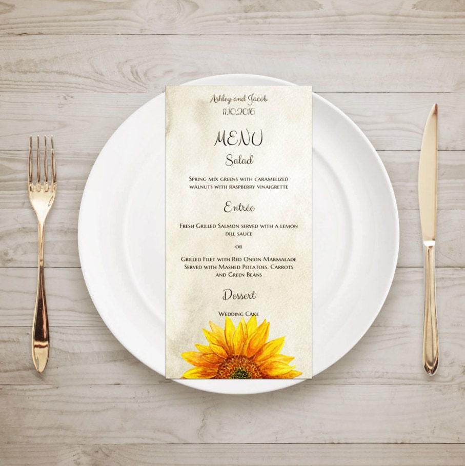 Menu Matrimonio Rustico : Rustico menu girasole paese matrimonio modello