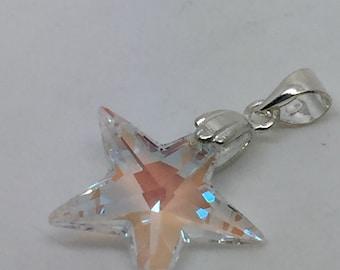 crystal star pendant,crystal star necklace,cryatal jewelry,silver star pendant,star jewelry,silver jewelry,boho pendant,boho chic