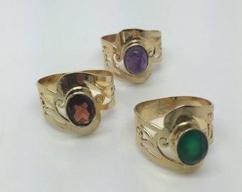 amethyst ring,garnet ring,green onyx ring,gold plated ring,gold amethyst ring,gold garnet ring,gold green onyx ring,gold stone ring,bohochic