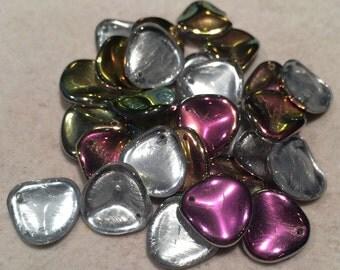 Rose Petal Beads, 14x13mm, Crystal Vitrail, 00030-28101, 25 Beads, Czech Glass