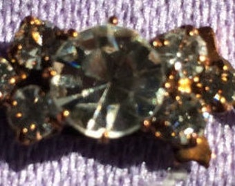 Rhinestone Bar Clasp, 8x21mm, Antique Copper With Crystals, RC150-0821-C0003, 1 Piece, Made In The Czech Republic