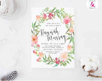 Spring Floral Baby Shower Invitation, Girl, Printable, Boho, Calligraphy [206]