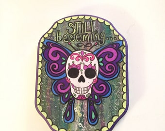 butterfly dia de los muertos wall art day of the dead butterfly wall hanging skull art