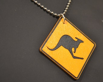 Road Sign Jewellery, Kangaroo, Road Sign, Necklace, Pendant