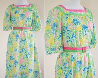 Vintage 1970s Sun Dress / Floral Print / Small / Cotton / Tanner / 8