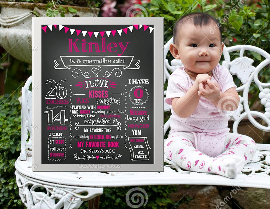 Sale printable 6 months birthday party chalk board milestone for 6 month birthday decorations