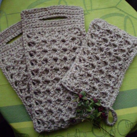 NATURAL bath SPONGE SET, crochet sponge, 100 %  jute/twine