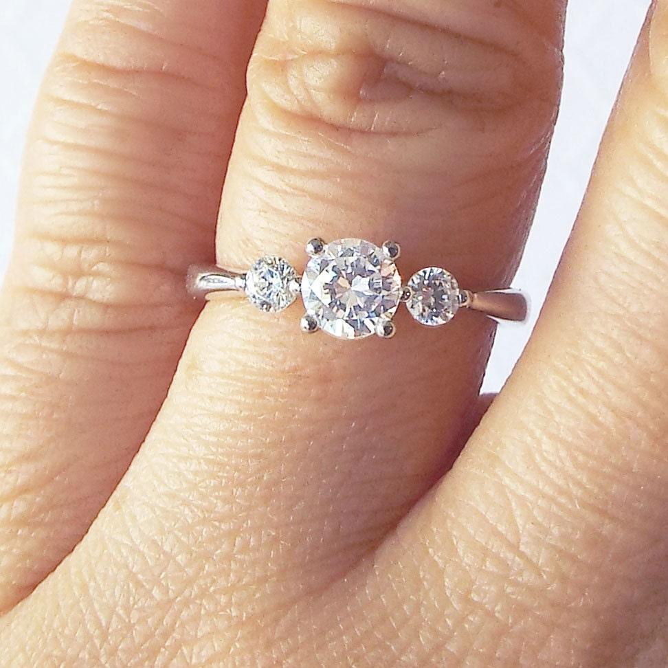 14k Gold 3 Stone Engagement Ring 7 Carat CZ Wedding Ring