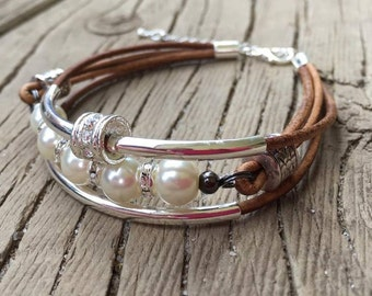 Brown Leather Bracelet with Ivory Glass Pearls