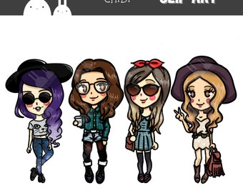 Chibi Hipster Girls Clip Art Set - Commercial & Personal Use