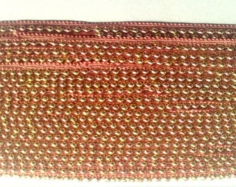 Beaded sari border  Indian Beaded Ribbon pink golden lace Pearl Embellished trim, bridal dress Ribbon 9 yard wholesale pearl trim