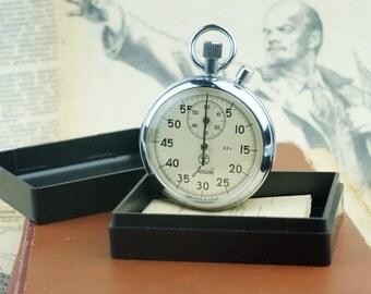 Mechanical Stopwatch Soviet Vintage  Watch original USSR  Workable 80s