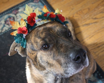 Autumn Leaf Flower Crown for Large Dogs;