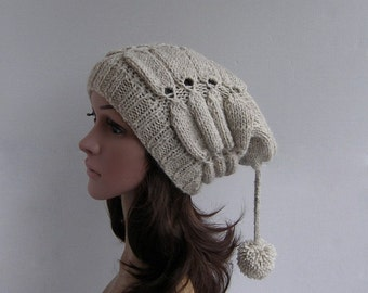 Beige Womens Slouchy beanie Beige Womens Knitted Slouchy Hat Chunky winter hand knit hat