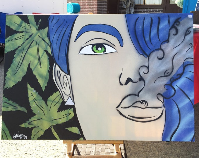 Featured listing image: Mary Jane Original Spray Painting 2FTx3FT