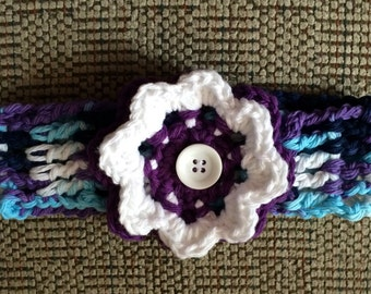 Purple Cotton Toddler Hairband, Purple Cotton Head band, Toddler Hair Accessory,Purple Flowered Hairband, Headband, Hairband, cotton flower