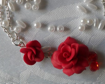 Handcrafted Polymer Clay Red Rose Pendant Necklace