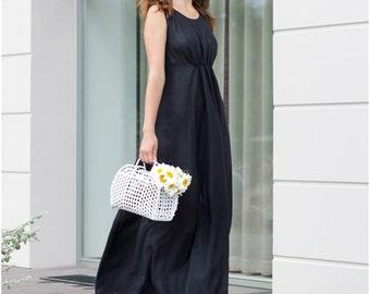 Blue long dress, maxi dress, custom made,  long linen dress