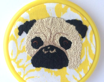 Pug, Embroidery, Wall Art, Hoop Art, Floral, Dog, Gift