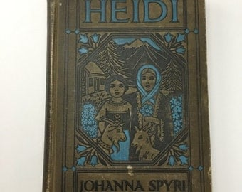1930 edition Heidi, Johanna Spyri, classic literature, vintage Heidi, vintage literature, blue illustrated book, gray book, blue book decor