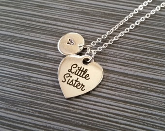 Silver Little Sister Necklace - Little Sis Necklace - Personalized Necklace - Custom Initial Necklace - Sister Gift - Stainless Steel Charm