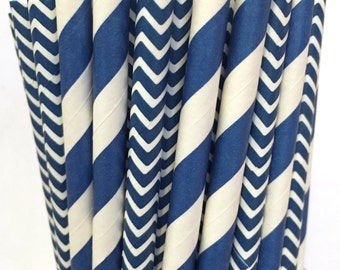 2.85 US Shipping -Navy Blue Paper Straws- Chevron Damask Stripe- Navy Straws - Navy Blue Cake Pop Sticks - Drinking Straws