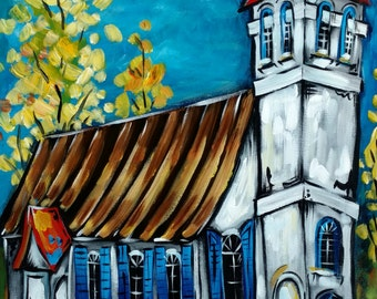 Old Christ Church, Pensacola Landmark, Abstract Boho Architecture, Gulf Coast, Florida Church Art, Home Wall Decor