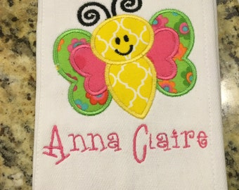 Butterfly Applique Burp Cloth