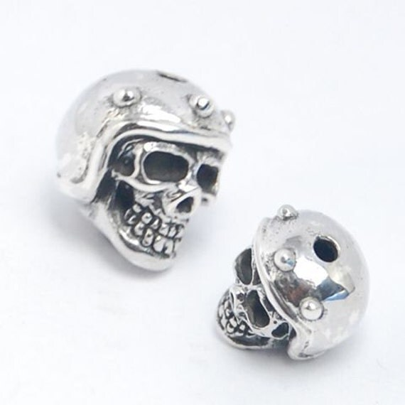 Unique, Sterling 925 Silver Skull with Motorcycle Helmet, Biker Style Bead!
