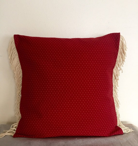 Decorative Pillows Trim : Items similar to Decorative Pillow Cover, Holiday Pillow Cover, Red Pillow Case, Fringe Trim ...