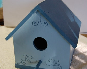 Blue Painted Bird House