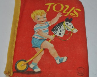 Toys - Cloth book by the Hampton Publishing Company 1963 Copyright