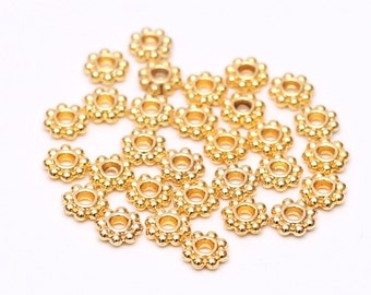 6mm Gold Spacer Beads, 30 pcs Gold Daisy Spacers, Rondelle Beads, Jewelry Making Supplies, Jewelry Findings