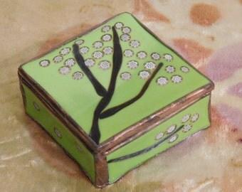 Fused glass treasure box--Flowering Tree