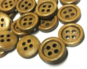 12pcs - 15mm Brown Wooden Buttons - 4 Hole Wood Button - Wooden Buttons