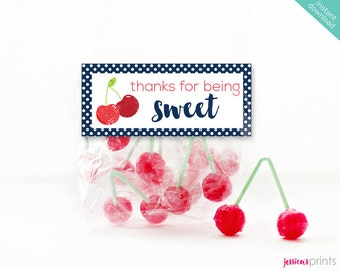 Instant Download Sweet Cherry Printable Party Favor Bag Topper, Red Cherry Bag Top, Cherry Party Printable, Vintage Cherry, Thank You Label