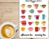 Cute Teacups Planner Stickers   Morning Tea   Afternoon Tea   Teatime (S-033)