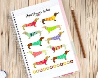 Dachshunds in Sweaters Planner Stickers   Dog Stickers   Dachshund Stickers   Funny Dogs   Dog Lover (S-036)