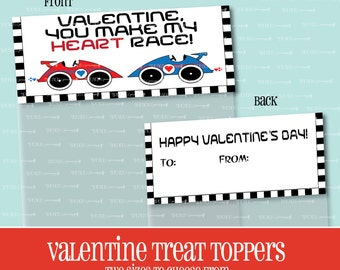 VALENTINE TREAT TOPPER, You Make My Heart Race, Treat Bag Topper, Valentine, Goody Bag, Race Car, Treat Topper, Valentine's Day, Printable