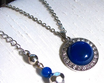 Blue Agate Round Pendant Necklace ~ Halo Pendant Necklace ~ Round Blue Agate Cabochon ~ Adjustable 18 - 22 inches