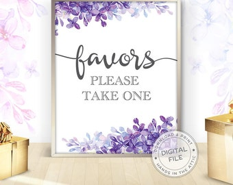 Favors please take one, floral wedding favors signs download ideas, printable wedding signage, lilac purple wedding, DIGITAL download