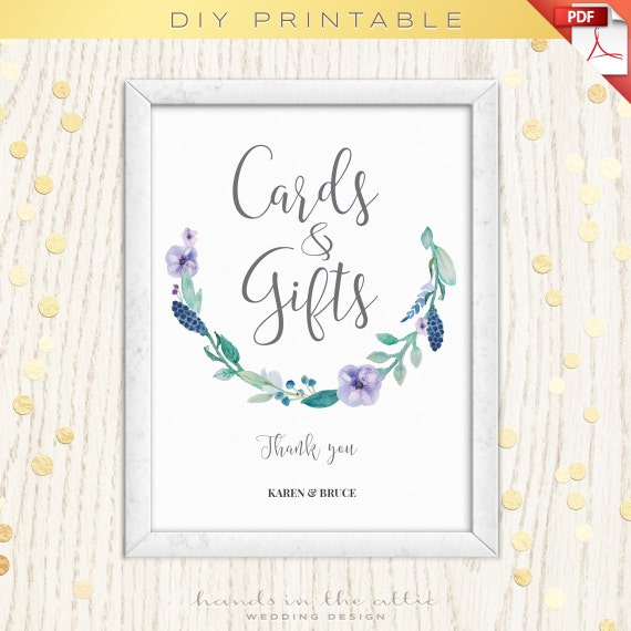 Wedding Gift Table Sign Template : and gifts, reception table wedding stationery, editable sign template ...