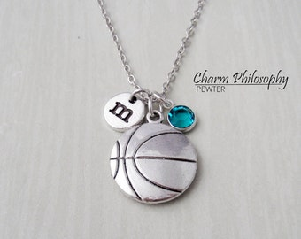 Basketball Necklace - Antique Silver Sports Jewelry - Monogram Personalized Initial and Birthstone