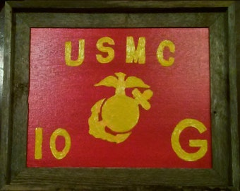 """ORIGINAL Oil Painting, """"USMC Guidon,"""" to scale according to the Marine Corps Order, Customizable to Your Unit."""