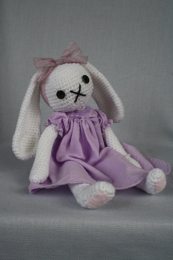 Amigurumi Bunny In Dress : Amigurumi bunny white rabbit with purple dress crochet doll